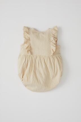 Defacto Kız Bebek Düğme Detaylı Kolsuz Dokulu Tulum 4