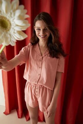 Defacto Kadın Bordo Gömlek Yaka  Kısa Kol Pijama Üstü U0721AZ21SP 1