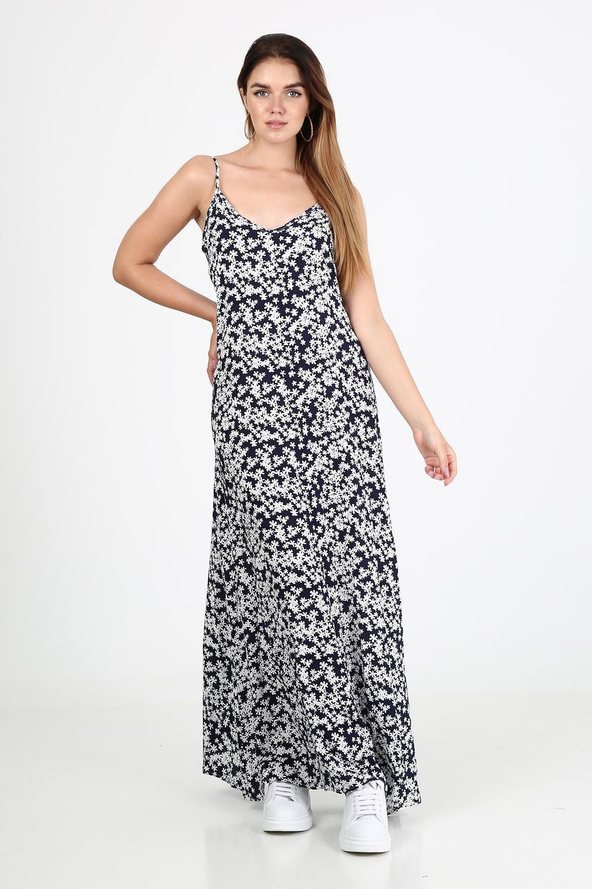 Çiçek Desenli Yırtmaçlı Uzun Elbise b21-44300