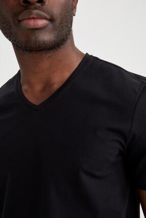 Defacto Slim Fit V Yaka Basic Siyah Tişört 2