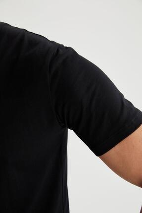 Defacto Erkek Siyah Bisiklet Yaka Slim Fit Premium Kalite Basic T-shirt 2