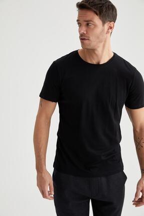 Defacto Erkek Siyah Bisiklet Yaka Slim Fit Premium Kalite Basic T-shirt 4