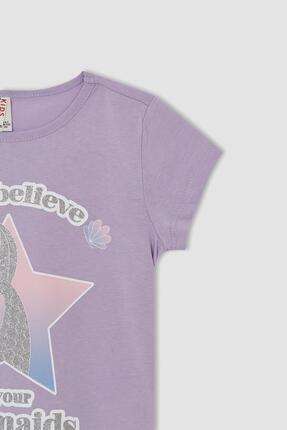 Defacto Kız Çocuk Deniz Kızı Baskılı Kısa Kollu Tişört 1