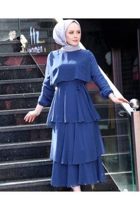 Kadın Tesettür Abiye Elbise Lacivert Astarlı abiye elbise