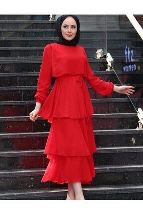 Kadın Tesettür Abiye Elbise Bordo Astarlı abiye elbise