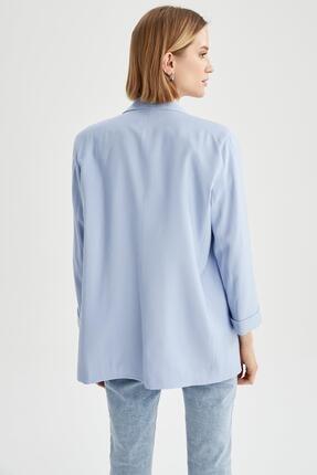 Defacto Kadın Mavi Oversize Fit Blazer Ceket 4