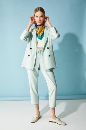 Defacto Kadın Turkuaz Oversize Fit Blazer Ceket 1