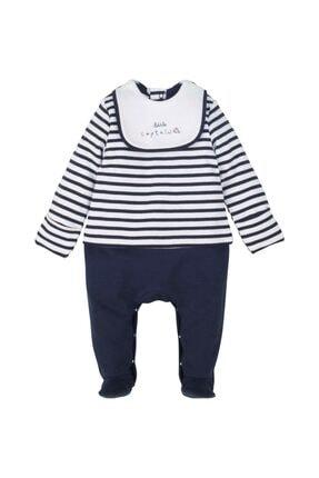 Erkek Bebek Lacivert Çizgili Tulum Takım 13550 resmi