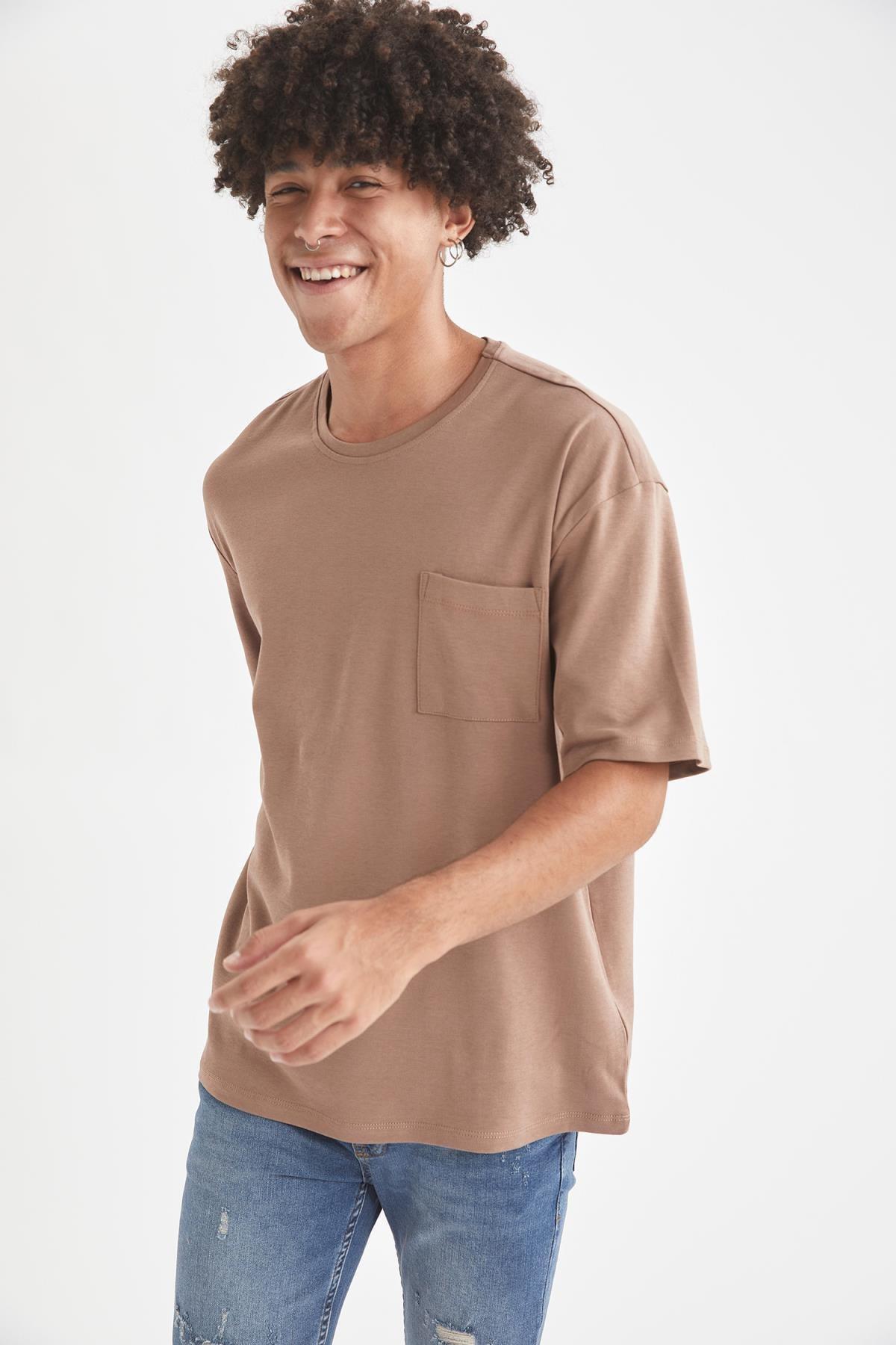 Defacto Erkek Kahverengi Oversize Fit Bisiklet Yaka Basic Tişört 0