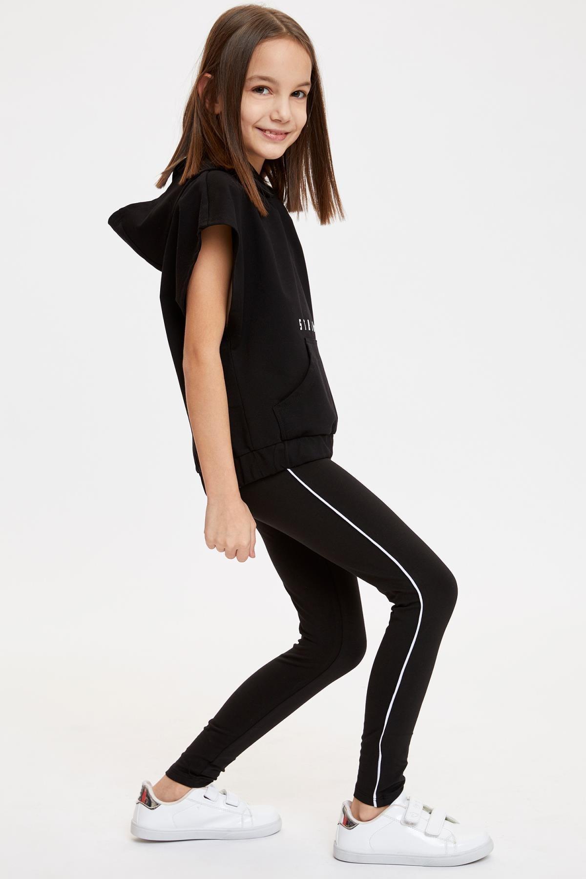 Defacto Kız Çocuk Slim Fit Yan Biye Detaylı Bilek Boy Tayt 0