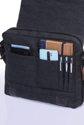 By Hakan Unisex Kanwas Laptop Bölmeli Postacı Çanta Siyah Gk12 3
