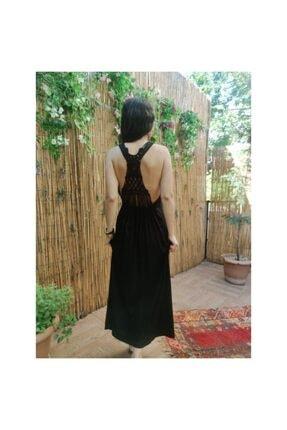 Sırt Örgü Dekolteli Plaj Elbisesi MRV-2075-SIYAH