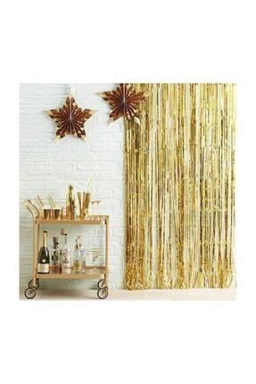 Deniz Party Store Metalize Fon Perde Duvar Perdesi Gold Renk 0