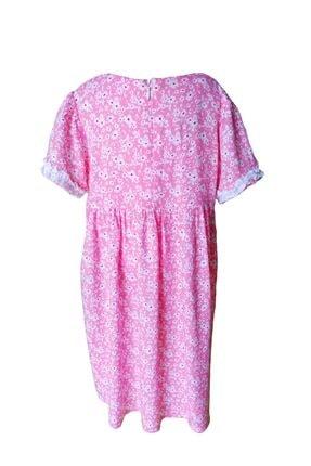 KobalBusiness Kız Çocuk Pembe Çiçek Desenli Fırfırlı  Elbise 4
