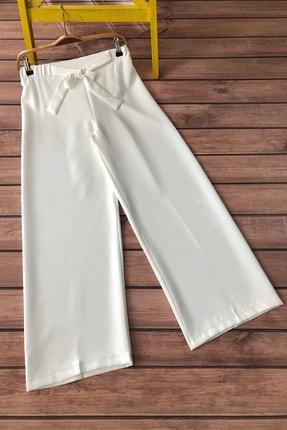 MODAQU Kadın Beyaz Kuşaklı Bol Paça Pantolon 1