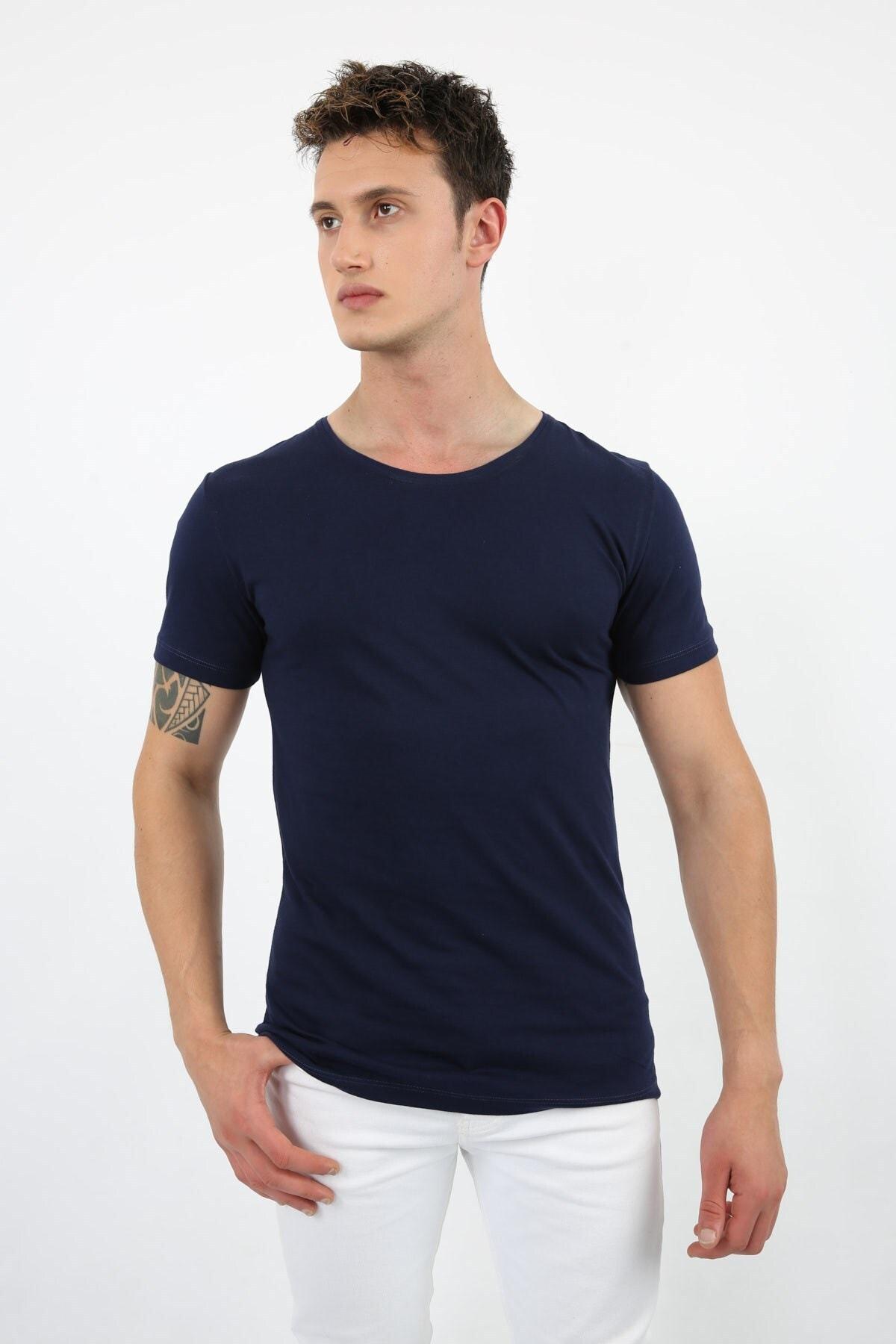 Erkek Lacivert Basic Slimfit T-shirt 4250