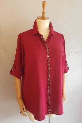 Picture of Büyük Beden Kadın Ön Pat Taşlı Klasik Gömlek