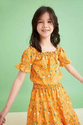 Defacto Kız Çocuk Sarı Desenli Carmen Yaka Bluz ve Etek Takımı 4
