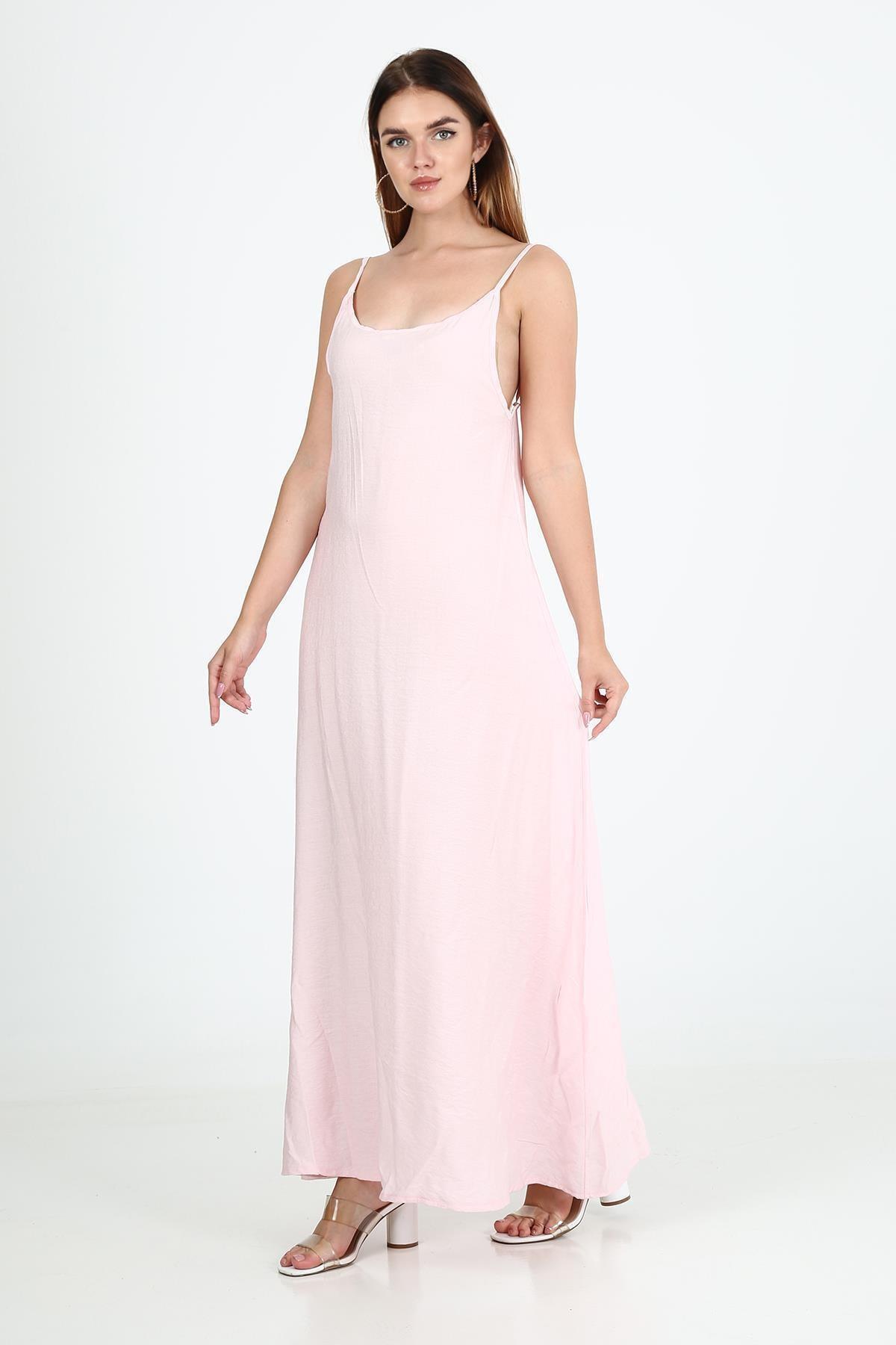 Ince Askılı Uzun Elbise b21-4210