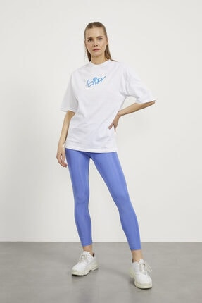 Arma Life Kadın Beyaz Stop Çiçek Baskı Oversize T-shirt 1