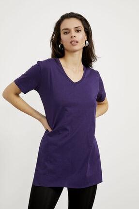 Arma Life Kadın Mor V Yaka Yırtmaçlı Basic T-shirt 1