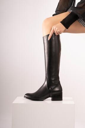 CZ London Hakiki Deri Kadın Uzun Çizme Fermuarlı Tabandan Şeritli 3