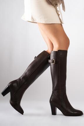 CZ London Hakiki Deri Kadın Çizme Saraçlı Topuklu Kışlık Ayakkabı 4