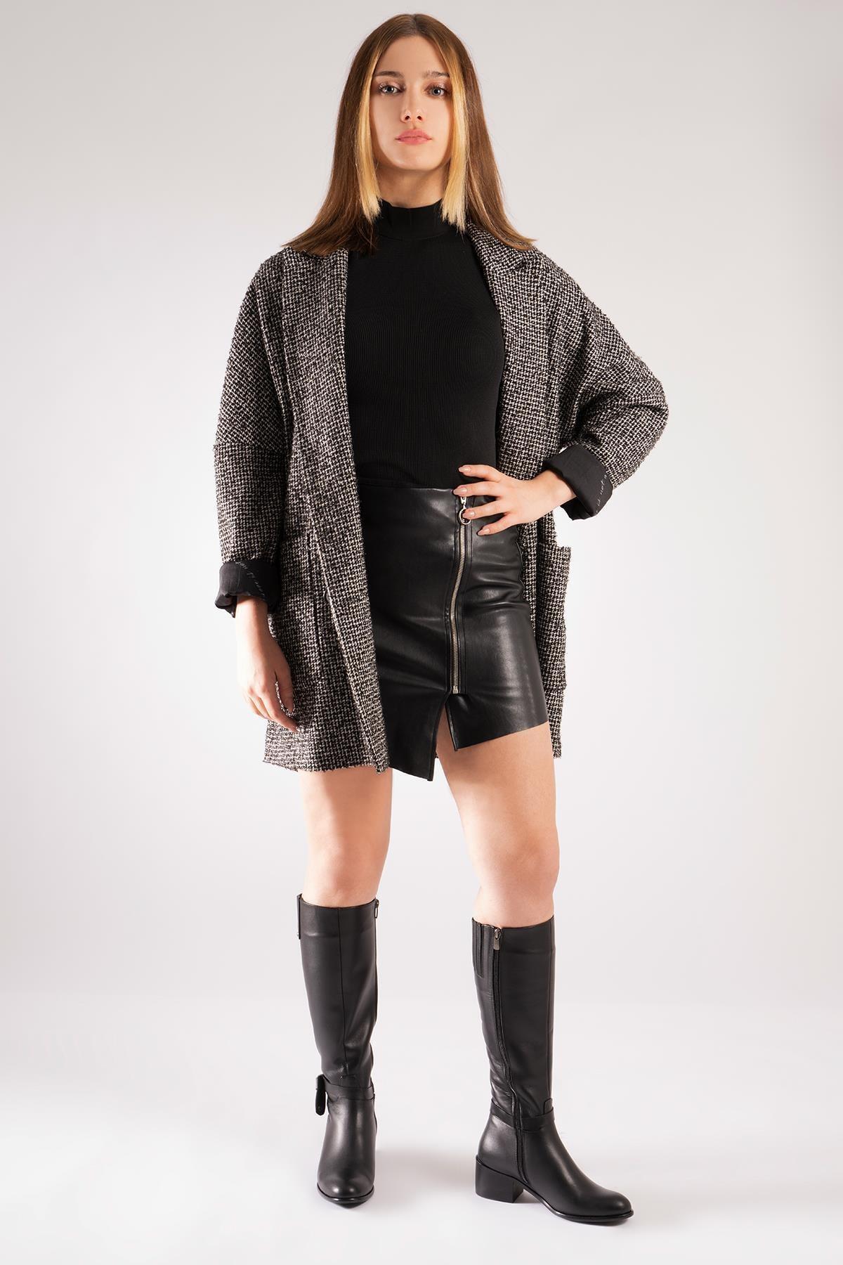 CZ London Hakiki Deri Kadın Topuklu Çizme Zımbalı Fiyonklu Uzun Boy Fermuar