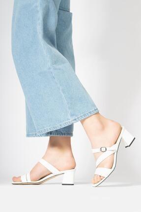 CZ London Kadın Deri Terlik Kare Topuk Tokalı Küt Burun Sandalet 0