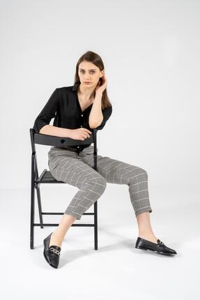 CZ London Kadın Siyah Hakiki Deri Babet Zincirli Taş Detaylı Tarz Ayakkabı 0