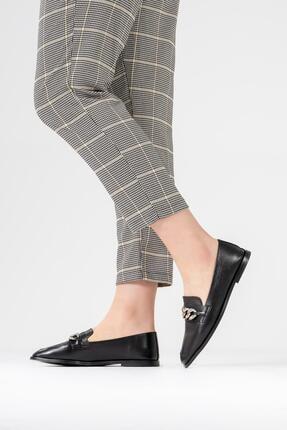 CZ London Kadın Siyah Hakiki Deri Babet Zincirli Taş Detaylı Tarz Ayakkabı 1