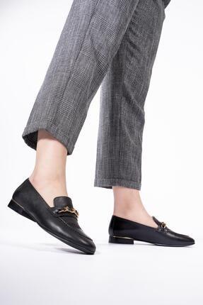 CZ London Hakiki Deri Kadın Loafer Zincirli Günlük Klasik Makosen Ayakkabı 1