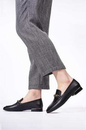 CZ London Hakiki Deri Kadın Loafer Zincirli Günlük Klasik Makosen Ayakkabı 3