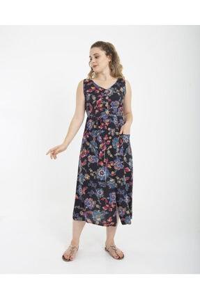 Sırt Bağlamalı Emprime Desen Elbise 9389