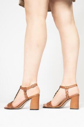 CZ London Kadın Kahverengi Topuklu Sandalet 3