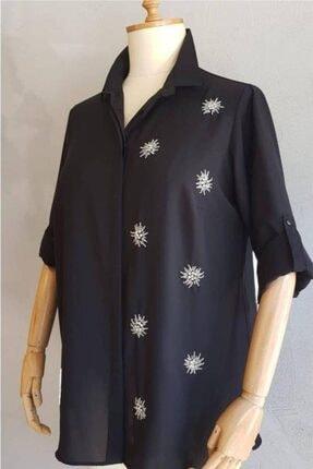 Picture of Büyük Beden Kadın Taş İşlemeli Klasik Patlı Gömlek