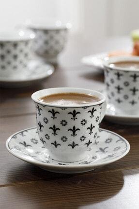 English Home Ilda Porselen 6'lı Kahve Fincan Takımı 90 ml Siyah 1