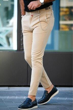 moda biz Erkek Bej İtalyan Kesim Slim Fit Kumaş Pantolon 0