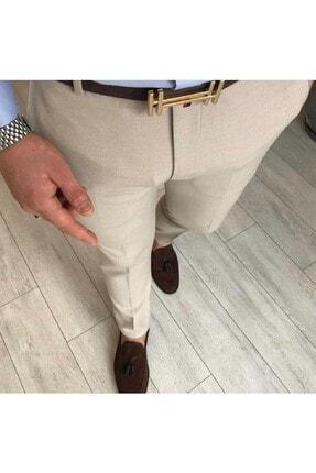 moda biz Erkek Bej Italyan Kesim Slim Fit Keten Pantolon 0