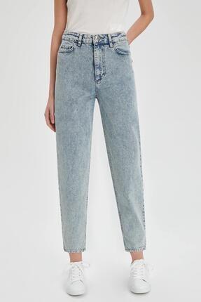 Defacto Kadın Mavi Slim Slouchy Fit Yıkamalı Jean Pantolon 0