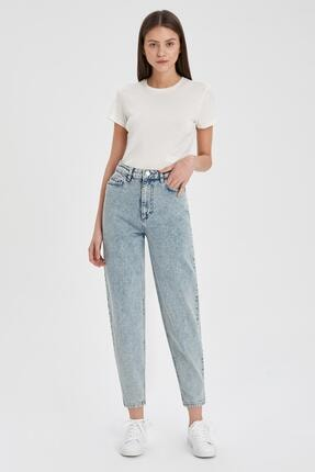 Defacto Kadın Mavi Slim Slouchy Fit Yıkamalı Jean Pantolon 1