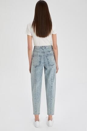 Defacto Kadın Mavi Slim Slouchy Fit Yıkamalı Jean Pantolon 4