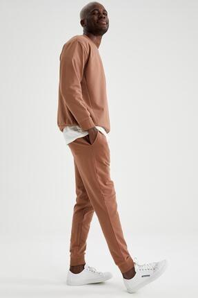 Defacto Erkek Kahverengi Slim Fit Jogger Eşofman Altı 4