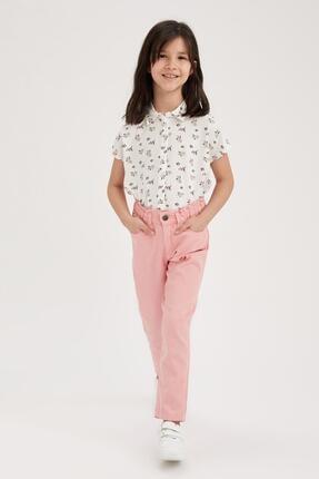 Defacto Kız Çocuk Çiçek Desenli Bağlama Detaylı Kısa Kol Gömlek 1