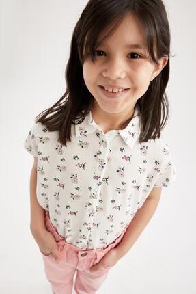 Defacto Kız Çocuk Çiçek Desenli Bağlama Detaylı Kısa Kol Gömlek 2