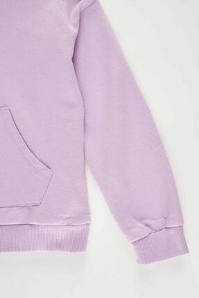 Defacto Kız Çocuk Mor Yazı Baskılı Sweatshirt 4