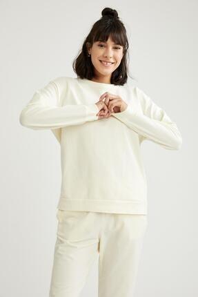 Defacto Kadın Ekru Relax Fit Sweatshirt 2