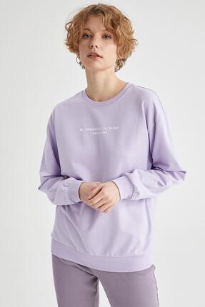 Defacto Kadın Lila Yazı Baskılı Pamuklu Relax Fit Sweatshirt 1