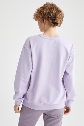 Defacto Kadın Lila Yazı Baskılı Pamuklu Relax Fit Sweatshirt 3