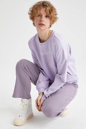Defacto Kadın Lila Yazı Baskılı Pamuklu Relax Fit Sweatshirt 4